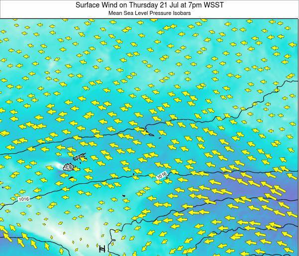 Samoa Surface Wind on Friday 21 Jun at 7pm WST