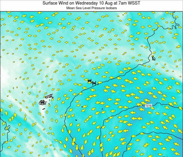 Samoa Surface Wind on Tuesday 28 May at 1am WST