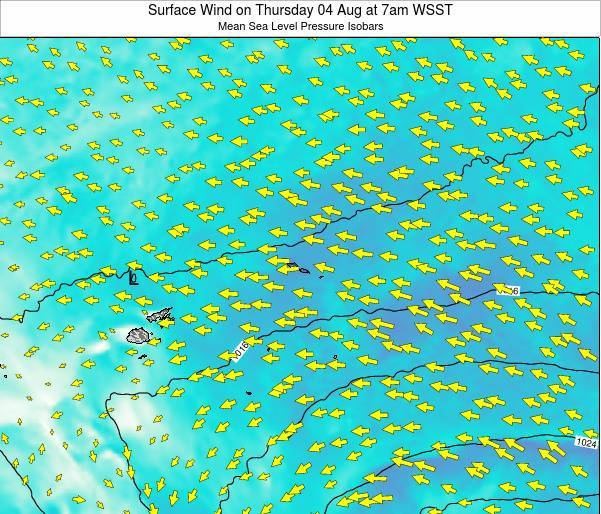 Samoa Surface Wind on Thursday 23 May at 7am WST