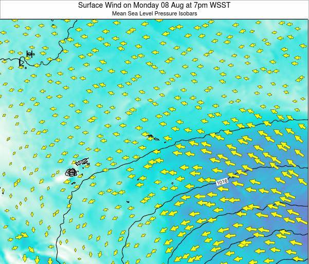American Samoa Surface Wind on Saturday 22 Jun at 1pm WST