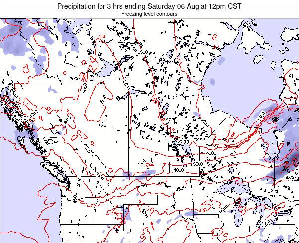 Saskatchewan Precipitation for 3 hrs ending Sunday 27 Apr at 12pm CST map
