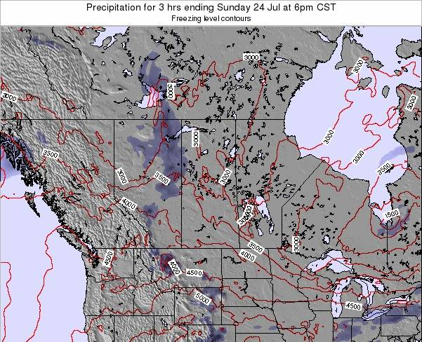 Saskatchewan Precipitation for 3 hrs ending Saturday 26 Jul at 12pm CST map