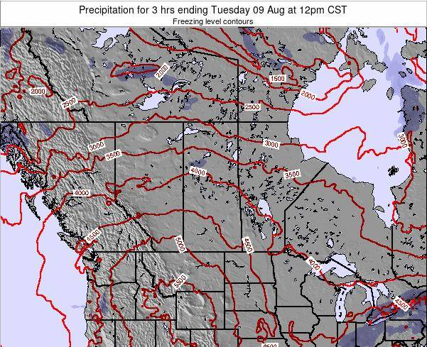 Saskatchewan Precipitation for 3 hrs ending Monday 28 Apr at 6pm CST map