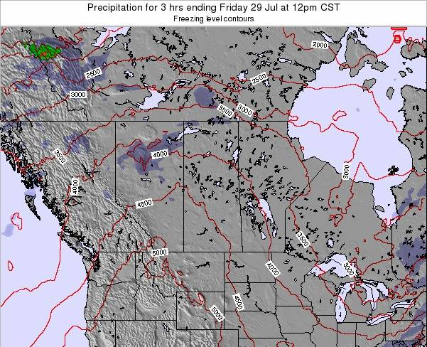 Saskatchewan Precipitation for 3 hrs ending Thursday 19 Dec at 12am CST map