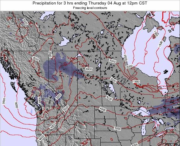 Saskatchewan Precipitation for 3 hrs ending Friday 14 Mar at 6pm CST map