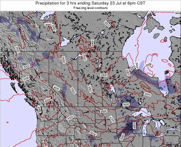 Saskatchewan Precipitation for 3 hrs ending Friday 01 Aug at 12am CST map