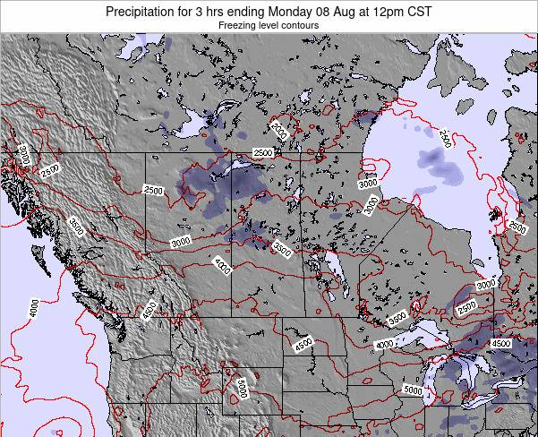 Saskatchewan Precipitation for 3 hrs ending Thursday 24 Apr at 12am CST map