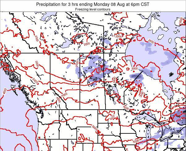 Saskatchewan Precipitation for 3 hrs ending Friday 25 Apr at 12pm CST map