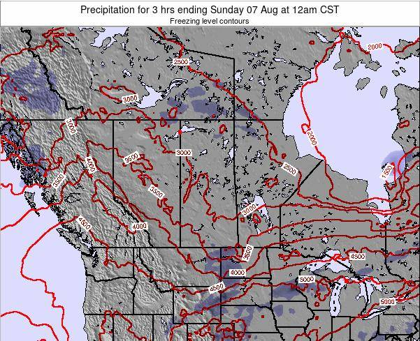 Saskatchewan Precipitation for 3 hrs ending Wednesday 30 Jul at 12am CST map