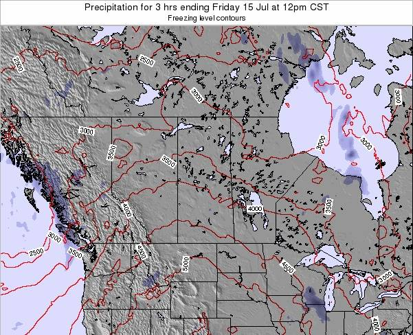 Saskatchewan Precipitation for 3 hrs ending Tuesday 21 May at 6am CST map