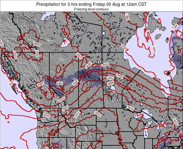 Saskatchewan Precipitation for 3 hrs ending Friday 25 Jul at 6am CST map