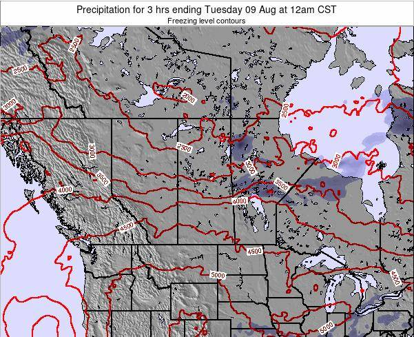 Saskatchewan Precipitation for 3 hrs ending Friday 25 Jul at 6pm CST map