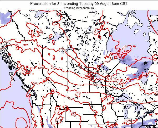 Saskatchewan Precipitation for 3 hrs ending Friday 13 Dec at 12am CST map