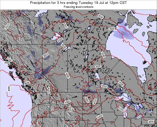 Saskatchewan Precipitation for 3 hrs ending Sunday 27 Jul at 6am CST map