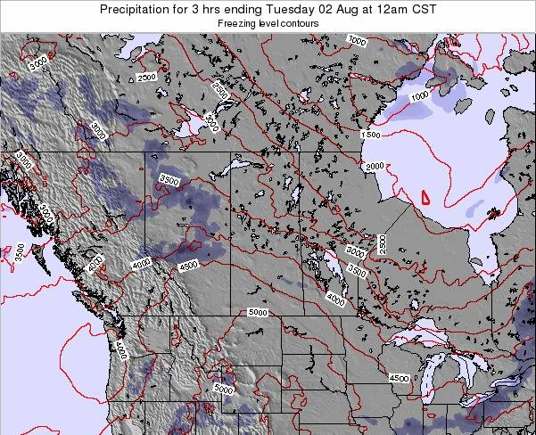 Saskatchewan Precipitation for 3 hrs ending Tuesday 22 Apr at 6pm CST map