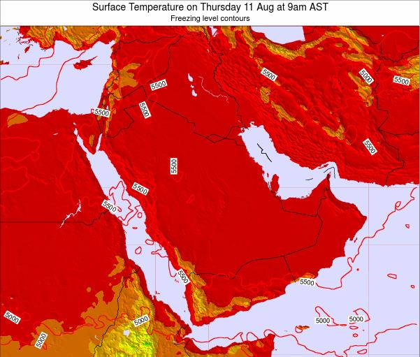 Oman Surface Temperature on Wednesday 25 Apr at 9am AST map