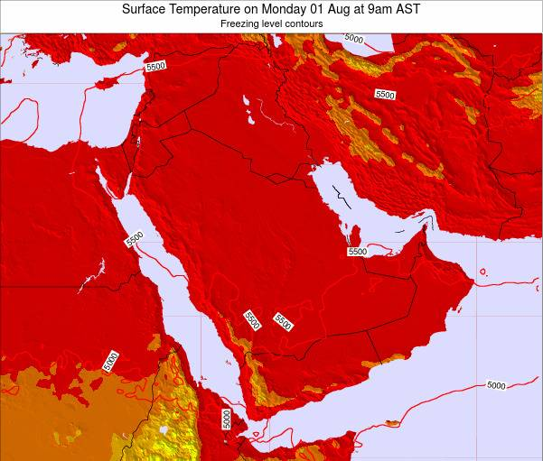 Oman Surface Temperature on Wednesday 22 May at 9pm AST