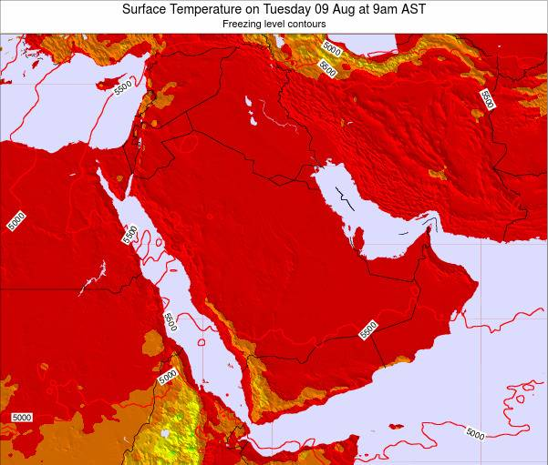 Oman Surface Temperature on Monday 28 Jul at 3pm AST