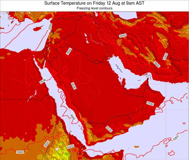 Oman Surface Temperature on Tuesday 29 Jul at 3pm AST