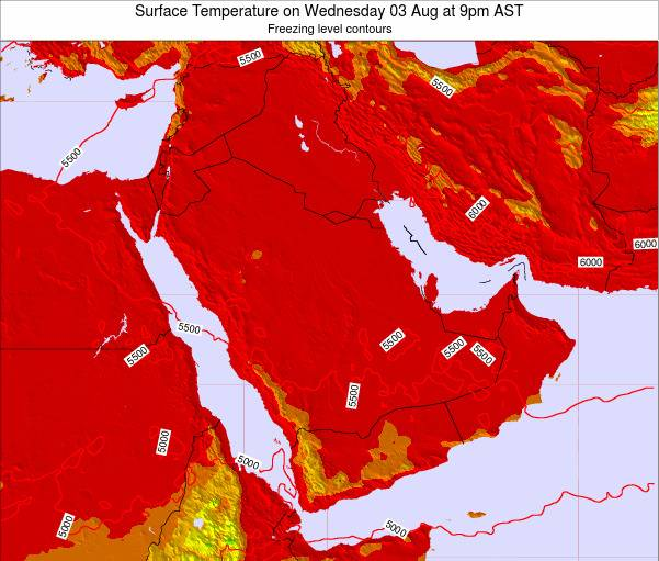 Oman Surface Temperature on Wednesday 14 Oct at 3pm AST
