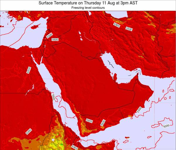 Oman Surface Temperature on Friday 13 Dec at 9am AST