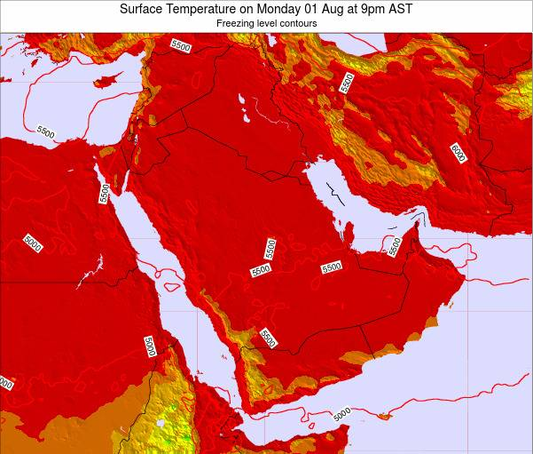 Saudi Arabia Surface Temperature on Wednesday 22 May at 3pm AST map
