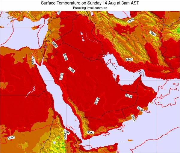 Oman Surface Temperature on Sunday 08 May at 3am AST