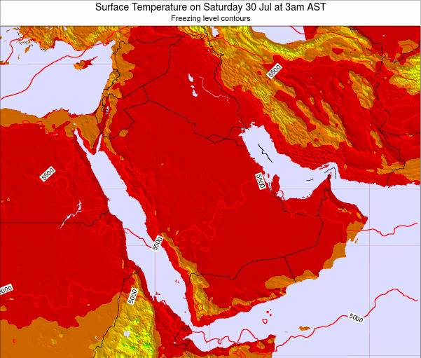 Oman Surface Temperature on Friday 28 Oct at 9am AST