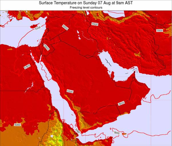 Oman Surface Temperature on Saturday 15 Mar at 9am AST