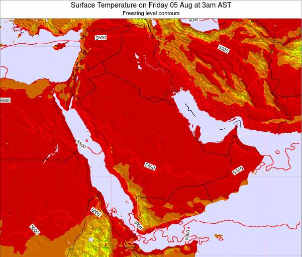 Oman Surface Temperature on Thursday 07 Aug at 9am AST