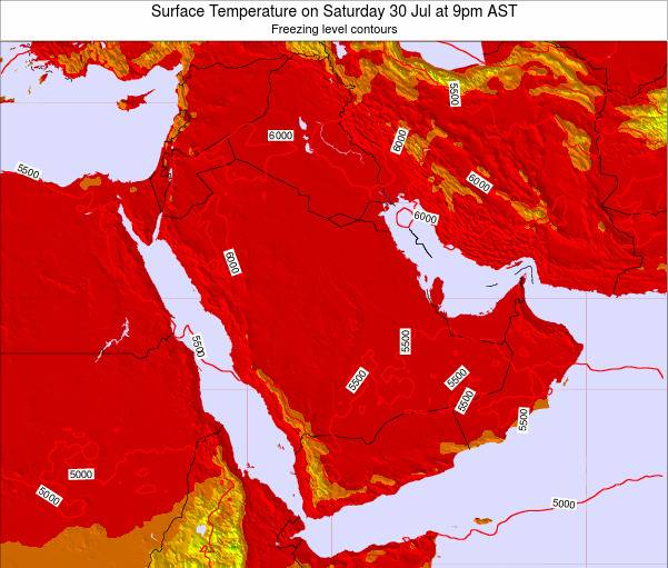 Oman Surface Temperature on Wednesday 26 Jun at 9pm AST