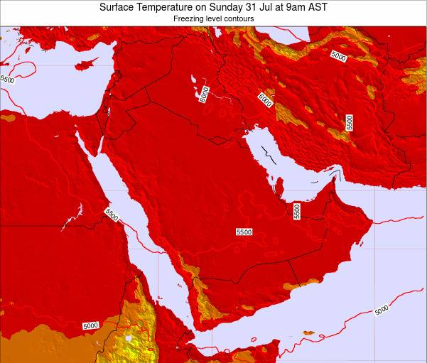 Oman Surface Temperature on Friday 08 Aug at 9pm AST