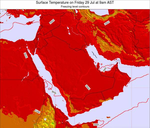 Oman Surface Temperature on Friday 24 May at 9pm AST