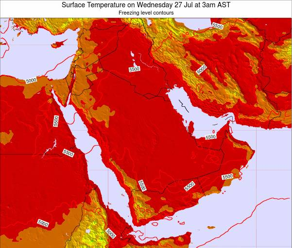 Oman Surface Temperature on Friday 24 May at 3am AST