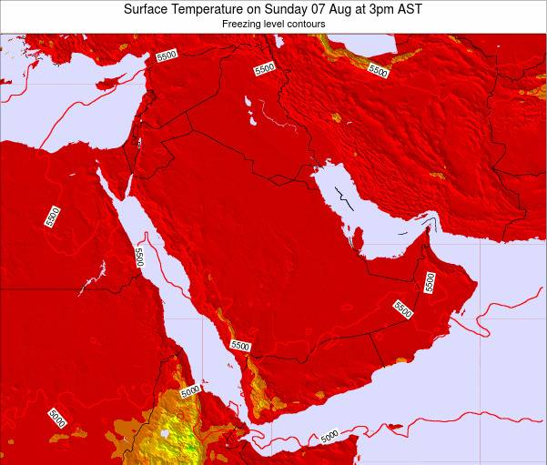 Oman Surface Temperature on Thursday 23 May at 3pm AST