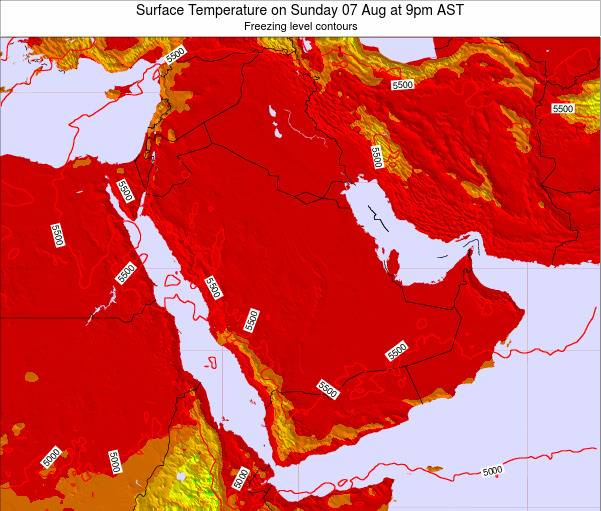 Oman Surface Temperature on Thursday 30 Apr at 9pm AST