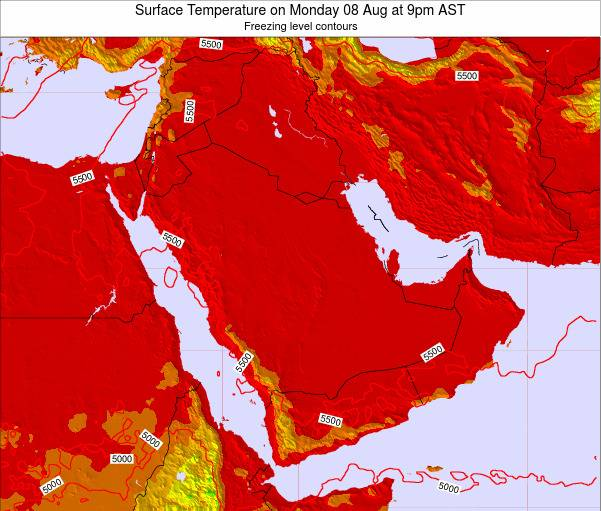 Oman Surface Temperature on Sunday 27 Apr at 3am AST