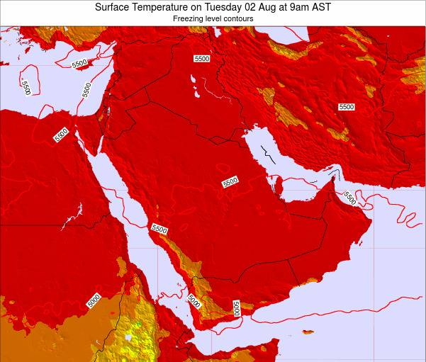 Oman Surface Temperature on Saturday 02 Aug at 3pm AST
