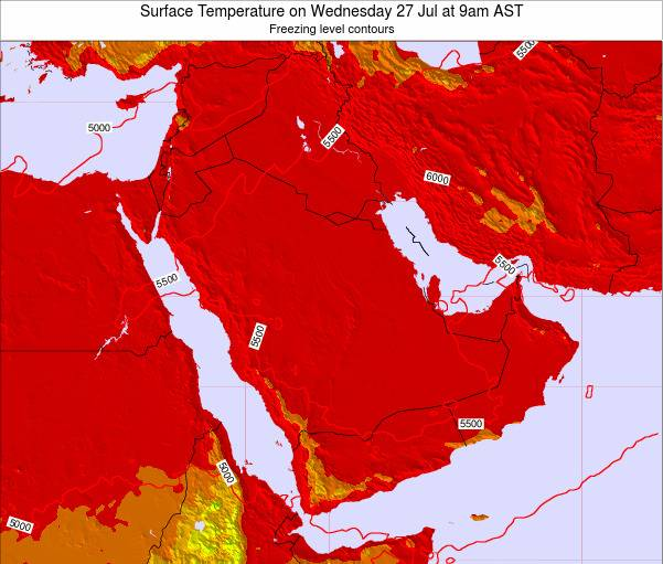 Oman Surface Temperature on Saturday 26 May at 9pm AST map