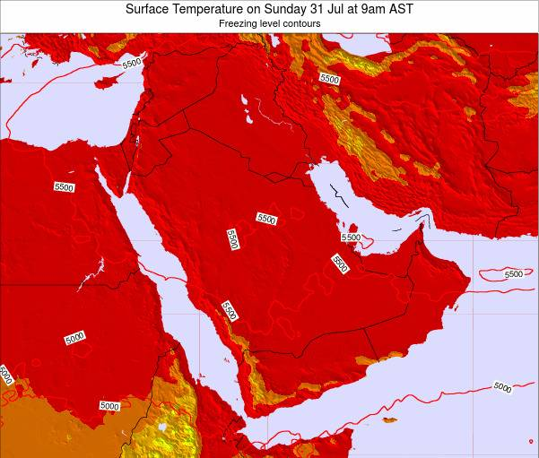 Oman Surface Temperature on Saturday 25 May at 3pm AST