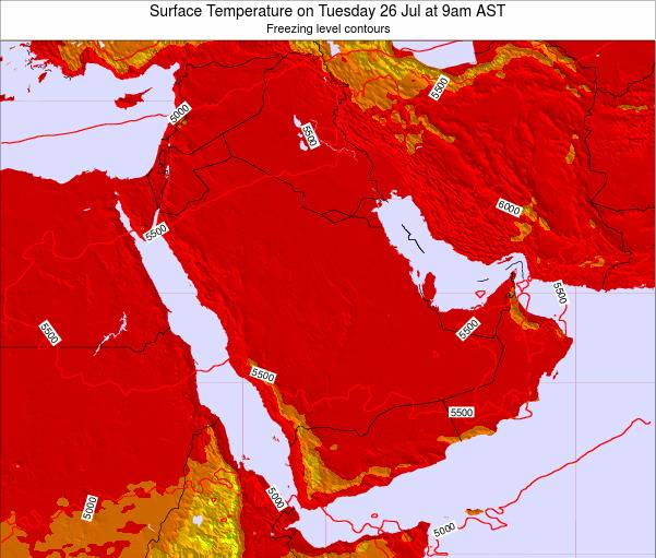 Oman Surface Temperature on Monday 28 Apr at 9am AST
