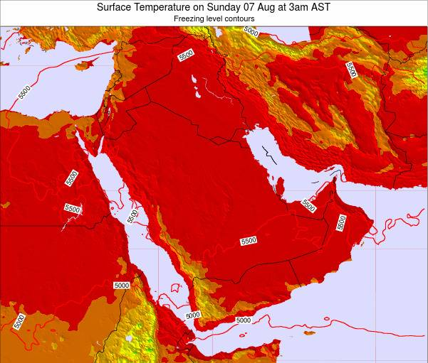 Oman Surface Temperature on Wednesday 27 Jun at 3pm AST map