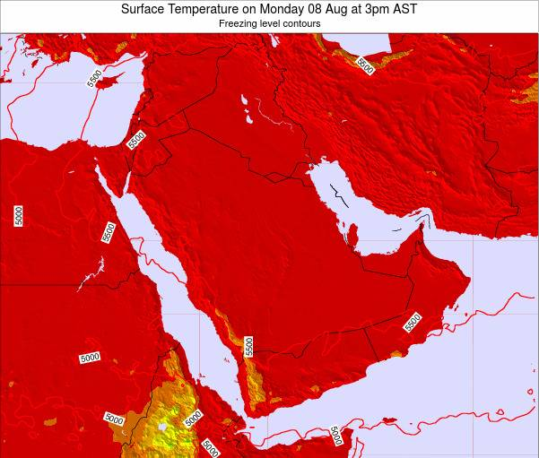 Oman Surface Temperature on Monday 30 Apr at 9pm AST map