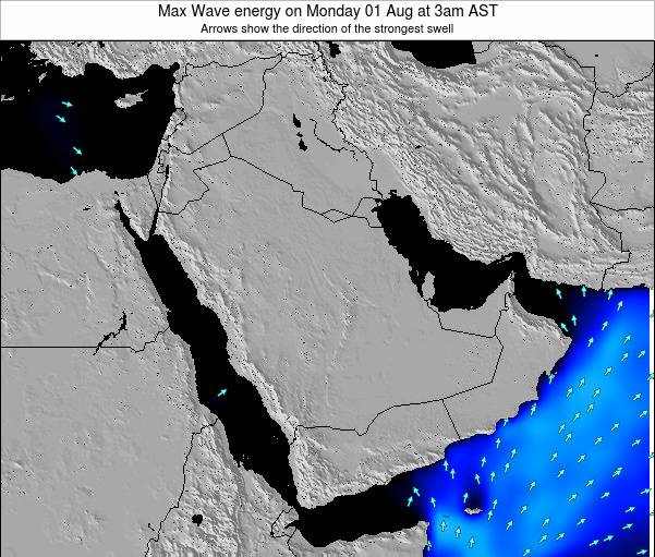 Kuwait Max Wave energy on Saturday 27 Jan at 9am AST map