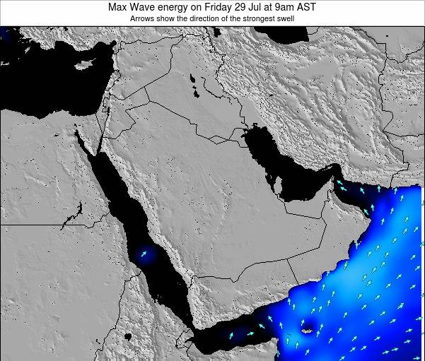 Kuwait Max Wave energy on Friday 25 Jan at 3pm AST map