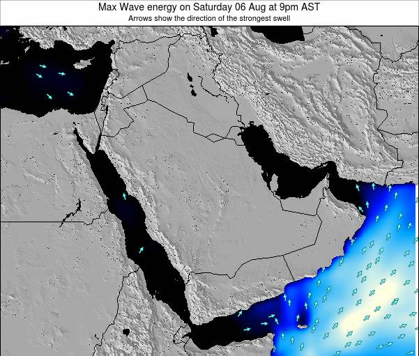 Kuwait Max Wave energy on Thursday 22 Aug at 3am AST map