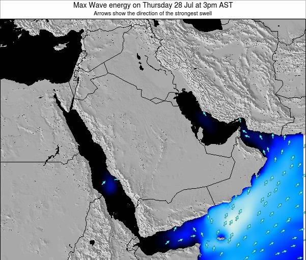 Kuwait Max Wave energy on Monday 28 May at 3am AST map