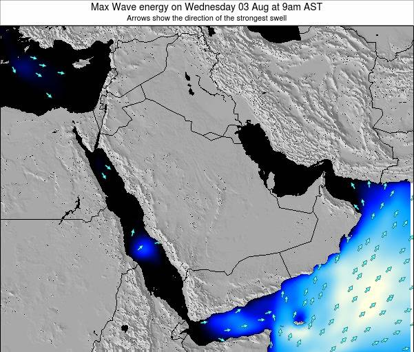 Kuwait Max Wave energy on Saturday 27 Oct at 9pm AST map