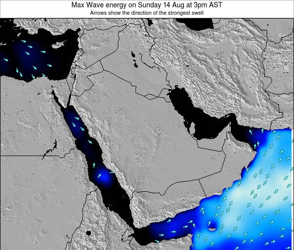 Kuwait Max Wave energy on Sunday 28 Apr at 9pm AST map