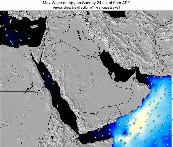 Kuwait Max Wave energy on Wednesday 23 Jan at 9am AST map